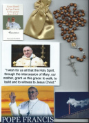 Saint Benedict Rosary Relic Rosary Blessed by Pope Francis on 3/14/2013 at 1st Mass Given by Him at Vatican's Sistine Chapel also Includes Photographs of Mass & Photos of the Conclave the Day Before 50cm L w/Brown Wooden Beads Patron of