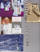 Saint Andrew Avellino Relic Rosary Blessed by Pope Francis on 3/19/2013 at Inauguration Mass Patron Against Sudden Death Off White Wooden Beads