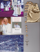 Saint Germaine Cousin Relic Rosary Blessed by Pope Francis on 3/19/2013 at Inauguration Mass Patron of Abused Children Beige Wooden Beads