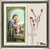 Catholic St Joseph Patron Saint Prayer Rosary with Crystal Beads and Prayer Card Set by Bliss Manufacturing