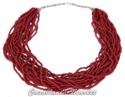 Moroccan Artisan Glass Coral Bead Necklace