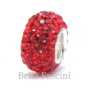 10pcs-red-.925 Sterling Silver. Crystal Pave Bead Charm Fits Pandora Chamilia Kay's Troll European Story Charm Bracelets