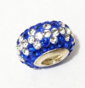 10pcs-white and royal blue design -.925 Sterling Silver. Crystal Pave Bead Charm Fits Pandora Chamilia Kay's Troll European Story Charm Bracelets