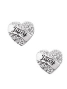 Juicy Couture Pave Heart Stud Earrrings, Silver