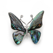 Mother of Pearl Butterfly Design Colourful Dark Green Shell Brooch Pin