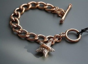 Juicy Couture Rose Gold Pave Star Toggle Chain Link Charm Bracelet