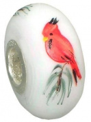 Fenton Art Glass Cardinal on Pine - Handmade Lampwork Glass USA Made Williamstown, West Virginia
