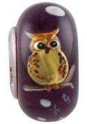 Fenton Art Glass Moonlit Owl Bead - Handmade Lampwork Glass USA Made Williamstown, West Virginia