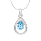 Annaleece Dazzling Aquamarine Necklace. Elements DeVries Hypoallergenic Nickel-Free 1274-ANNA