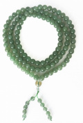 Jade 108 Bead Mala with Om Mani Padme Hum Handpainted in Gold on the Guru Bead