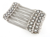 FB-5511 Rustic Silver Plated Hand Bracelet Band of Round Crystals, beads and Chain Links. Strechable, One Size Fits All!