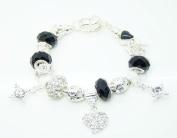 Black Murano Bead Heart Charm Bracelet