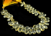 Natural Golden Yellow Citrine Quartz Gemstone 7-12mm Briolette 60-65pcs Pear Shaped Beads Strand