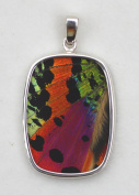 Sunset Moth Butterfly Wing Large Rectangular Pendant