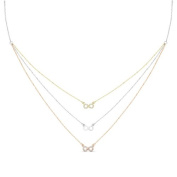 New Rose & Yellow Gold Over 925 Sterling Silver 'Infinity' 3 Tier Cz Necklace
