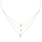 New Rose & Yellow Gold Over 925 Sterling Silver 'BFF' 3 Tier Cz Necklace