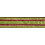 Vickerman 78010cm - 6.4cm x 10yd Red / Green Stripe Ribbon