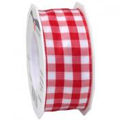 Morex Ribbon Karo Wired Ribbon, 3.8cm by 22-Yard, Red