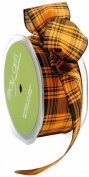 May Arts 3.8cm Wide Ribbon, Orange and Black Plaid