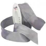 Morex Ribbon French Wired Lyon Ribbon, 3.8cm by 27-Yard Spool, Silver