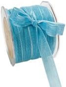 May Arts 1.6cm Wide Ribbon, Aqua Mesh