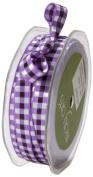 May Arts 1cm Wide Ribbon, Purple Multicoloured Cheque