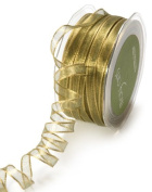May Arts 0.6cm Wide Ribbon, Olive Iridescent Metallic