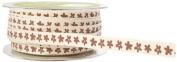 May Arts 1cm Wide Ribbon, Ivory Twill with Brown Flowers