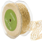 May Arts 3.8cm Wide Ribbon, Champagne Net