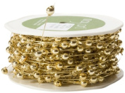 May Arts 0.5cm Wide Ribbon, Gold Beads