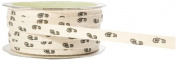 May Arts 1cm Wide Ribbon, Ivory Twill with Black Foot Prints