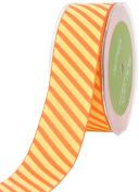 May Arts 3.8cm Wide Ribbon, Orange and Yellow Grosgrain Stripe
