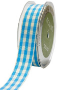 May Arts 2.2cm Wide Ribbon, Light Blue and Ivory Cheque