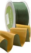 May Arts 3.8cm Wide Ribbon, Green and Gold Reversible