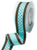 May Arts 3.8cm Wide Ribbon, Blue and Brown Grosgrain Polka Dot