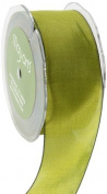 May Arts 3.8cm Wide Ribbon, Olive Two Tone