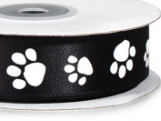 Single Faced Satin Paw Print Ribbon 2.2cm Black with White Paw Print - 25 Yard Roll