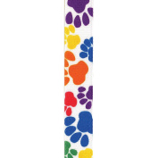 Offray Grosgrain Paw Print Craft Ribbon, 1.6cm Wide by 25-Yard Spool, Primary