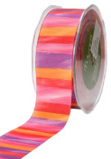 May Arts 3.8cm Wide Ribbon, Pink and Purple Grosgrain Stripes
