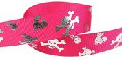 HipGirl 2.2cm Skull Cross Bone, Pirates, Halloween Grosgrain Ribbon