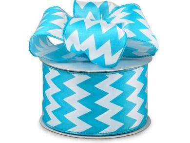 Chevron Satin #40 Wired Turquoise & White Stripe Ribbon , 6.4cm w X 25 Yard Roll