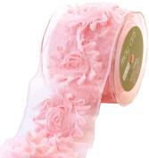 May Arts 6.4cm Wide Ribbon, Pink Frayed Flowers
