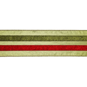 Vickerman 780210cm - 10cm x 10yd Sage / Red / Green Stripe Ribbon