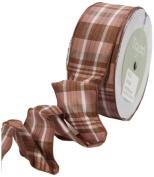 May Arts 3.8cm Wide Ribbon, Brown and Mauve Plaid