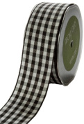 May Arts 1cm Wide Ribbon, Black Cheque