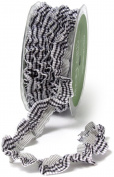 May Arts 1.9cm Wide Ribbon, Black Plaid Ruffle