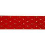 Vickerman 78040cm - 6.4cm x 10yd Red Velvet Diamond Net Ribbon