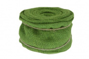 Renaissance 2000 Ribbon, 10cm , Green Burlap with Wire