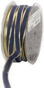 Ampelco Ribbon Company Gold Wired 54-Yard Taffeta Ribbon, 1cm , Navy