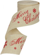Ampelco Ribbon Company Wired Natural Light Burlap Ribbon with Merry Christmas Print, 10cm by 10-Yard, Ivory